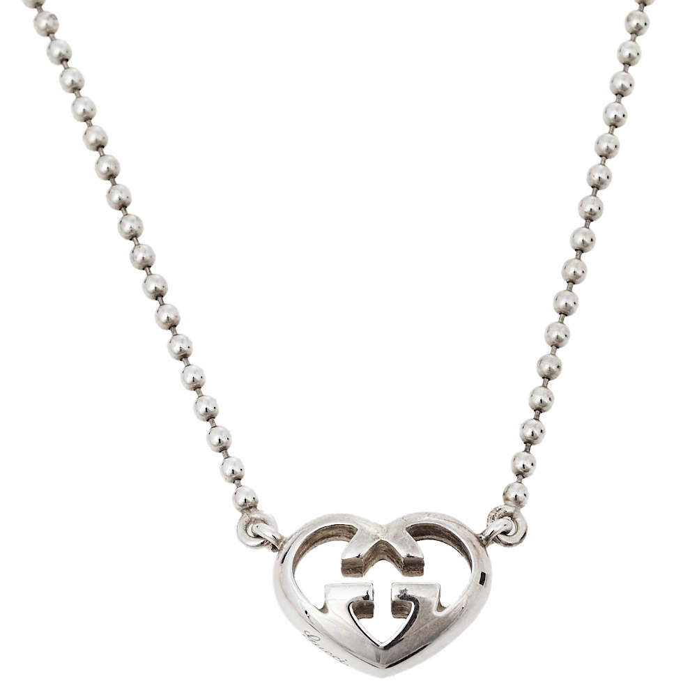 Gucci Sterling Silver Love Britt Heart Pendant Necklace