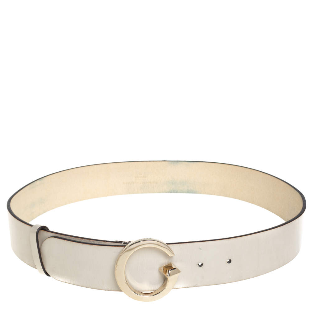 Gucci White Leather G Logo Buckle Belt 80CM