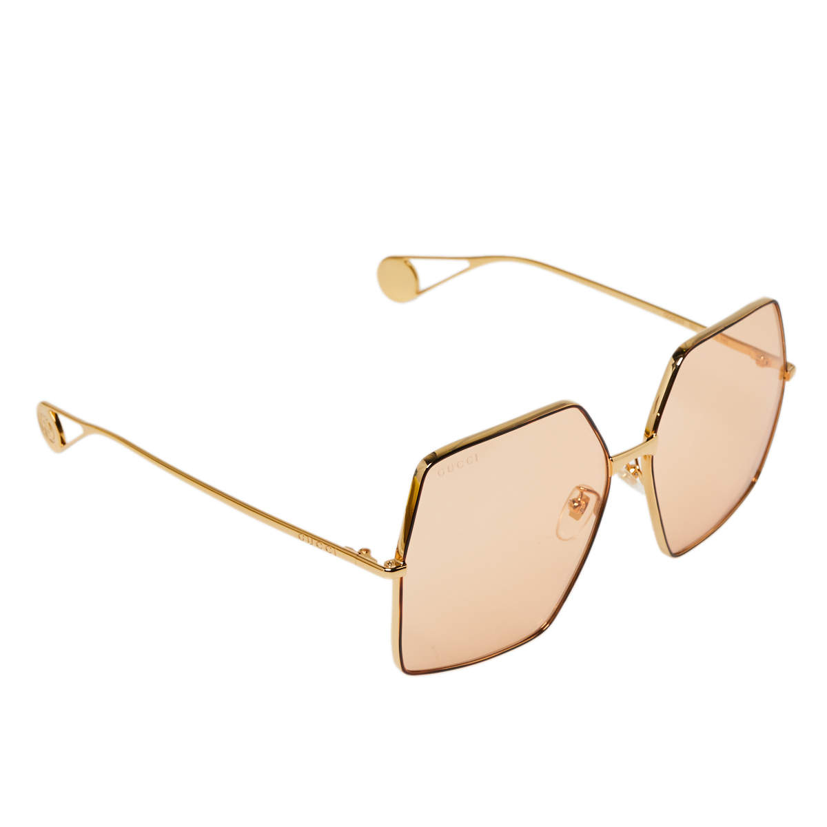 Gucci Gold Tone/Pale Orange GG0536S Oversized Sunglasses