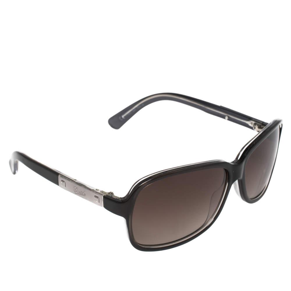 Gucci Black/ Brown Gradient GG3040 Rectangle Sunglasses