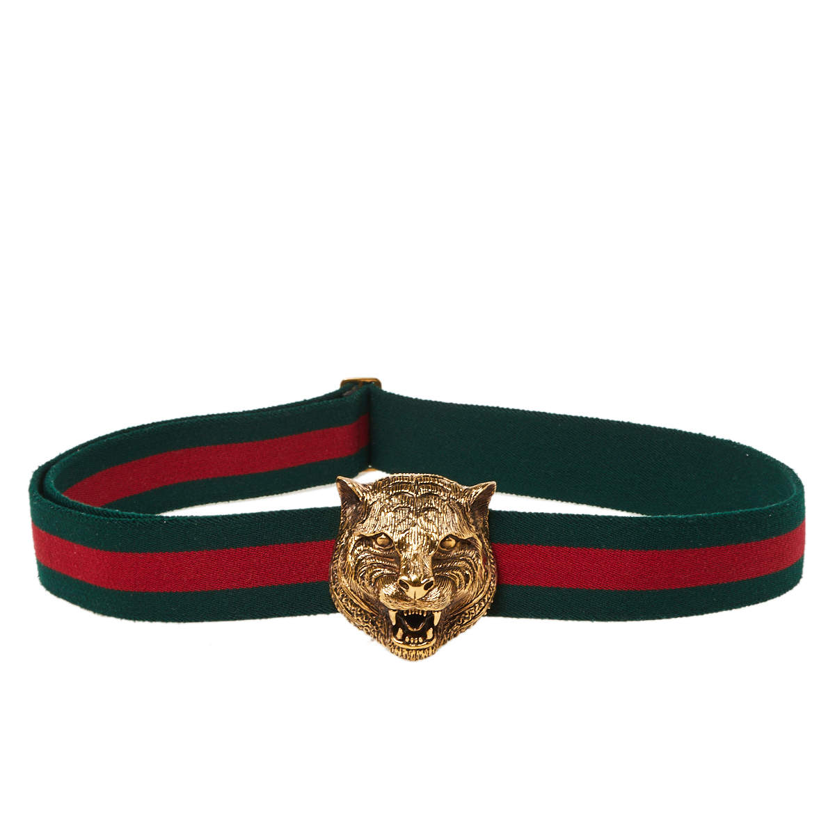 Gucci Green/Red Web Tiger Head Buckle Waist Belt 105 CM
