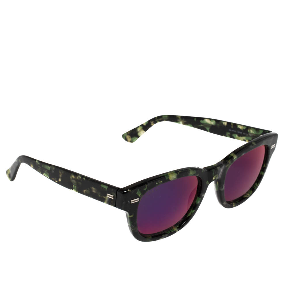 Gucci Green Tortoiseshell / Purple Mirrored GG1079/S Wayfarer Sunglasses