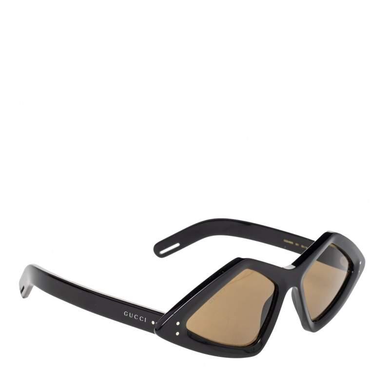 Gucci Black/Brown GG0496S Diamond Unisex Sunglasses