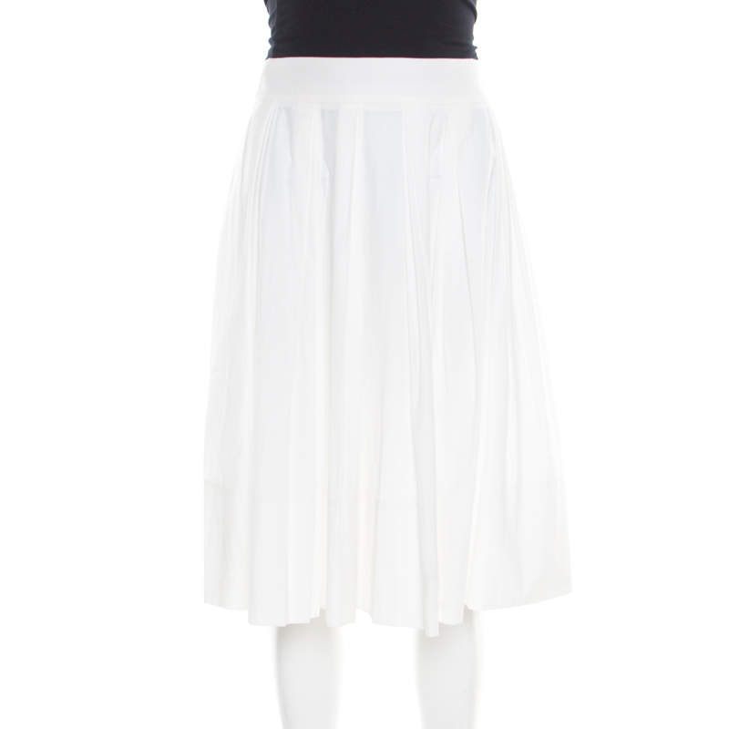 Gucci White Cotton Pleated A Line Skirt M