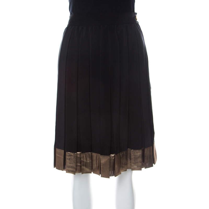 Gucci Black Silk Gold hem Detail Pleated Skirt M