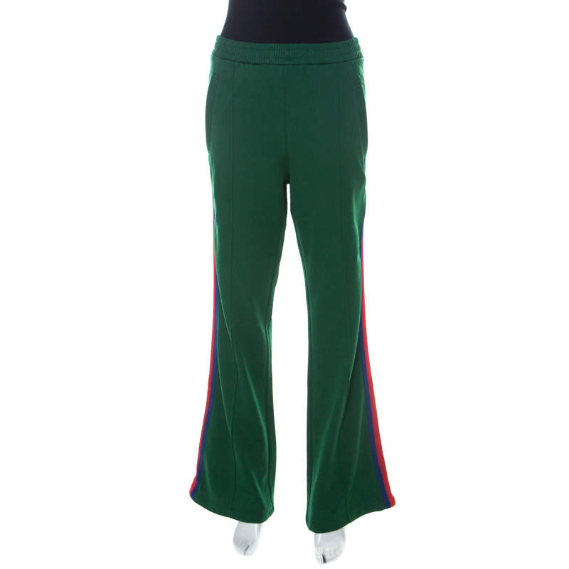 Gucci Green Cotton Blend Striped Side Seam Detail Sweatpants L