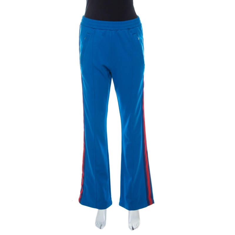 Gucci Blue Cotton Blend Striped Side Seam Detail Sweatpants S