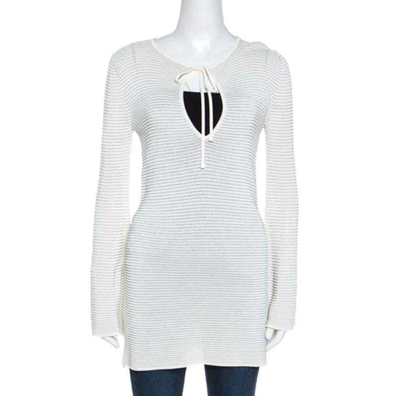 Gucci Cream Lurex Knit Tunic Top S