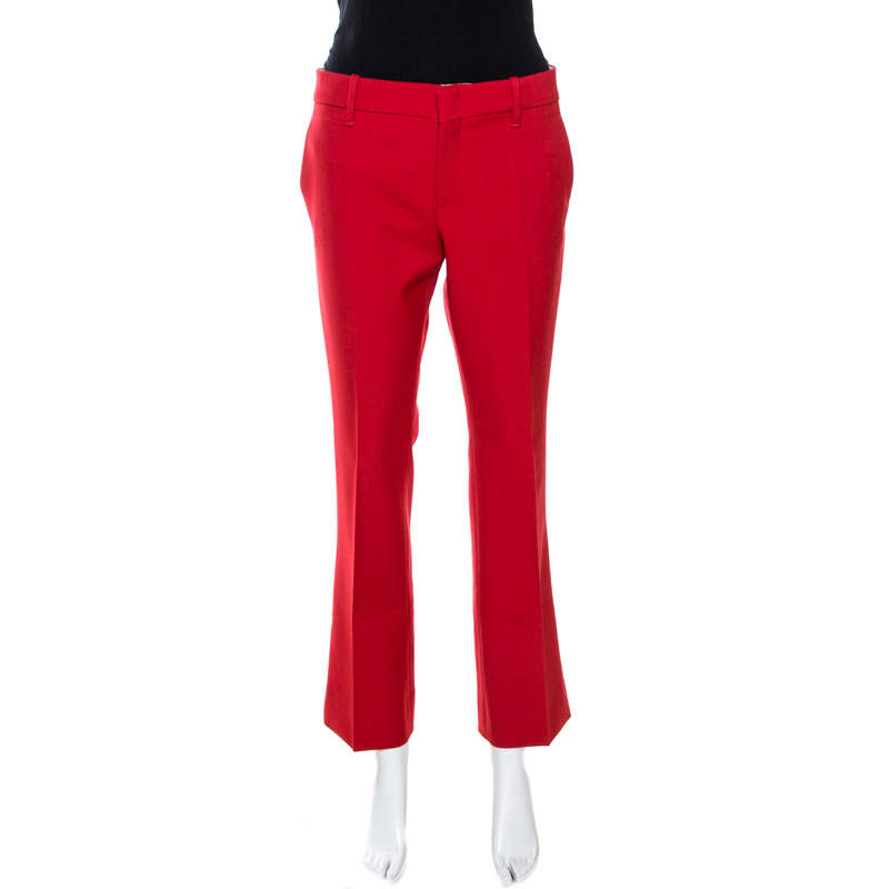 Gucci Red Twill Wool Flared Pants M