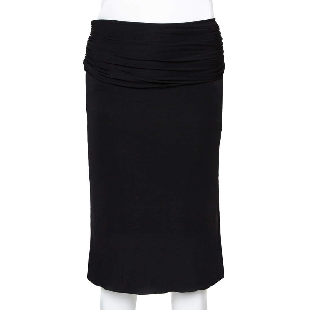 Gucci Black Jersey Ruched Waist Skirt S
