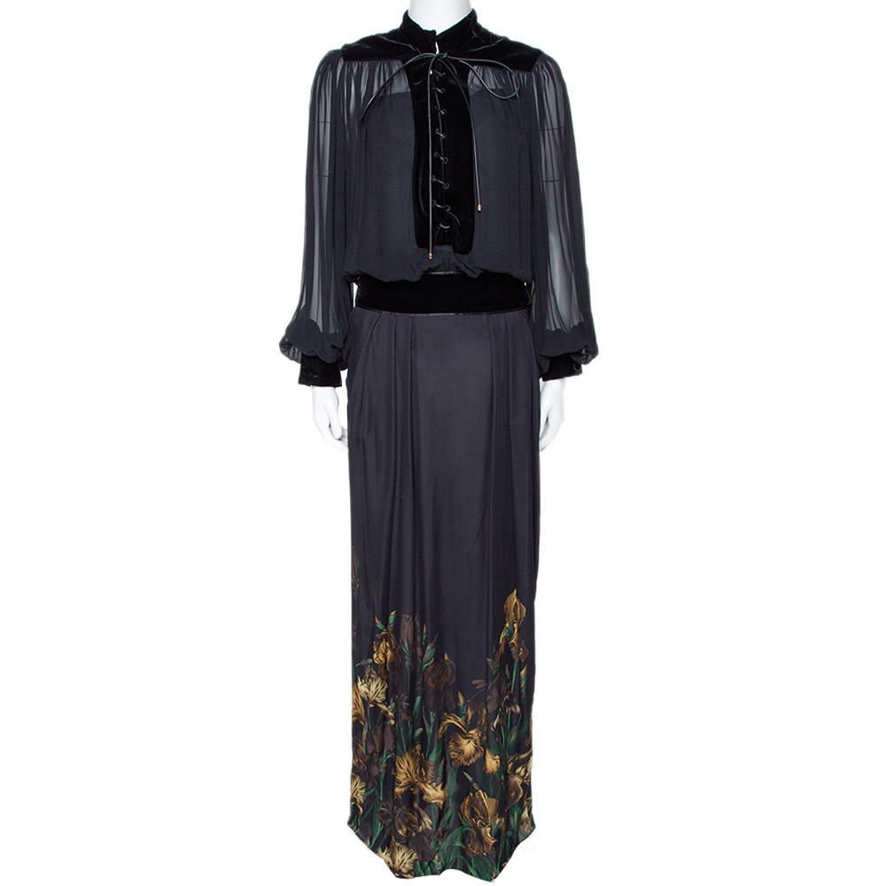 Gucci Black Iris Print Silk Velvet Trim Maxi Dress M