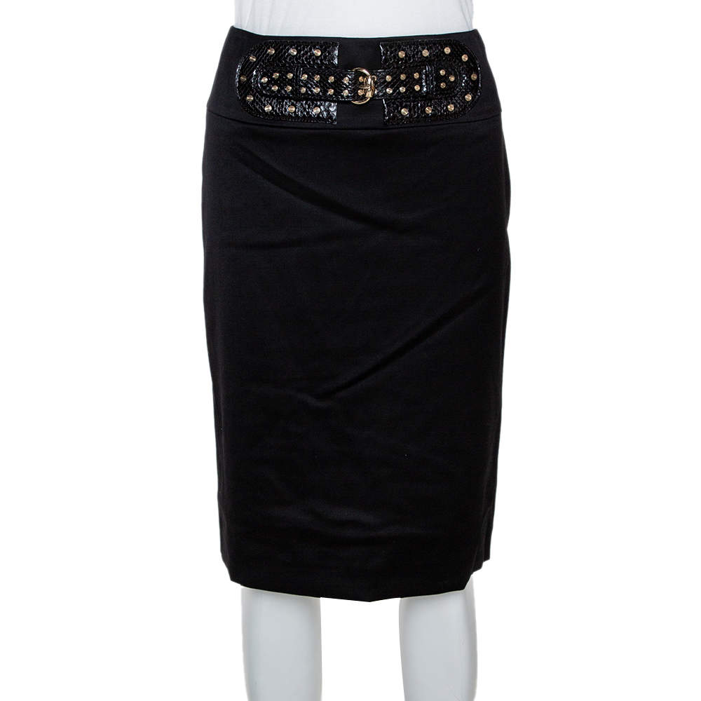 Gucci Black Stretch Wool Studded Belt Detail Fitted Skirt S
