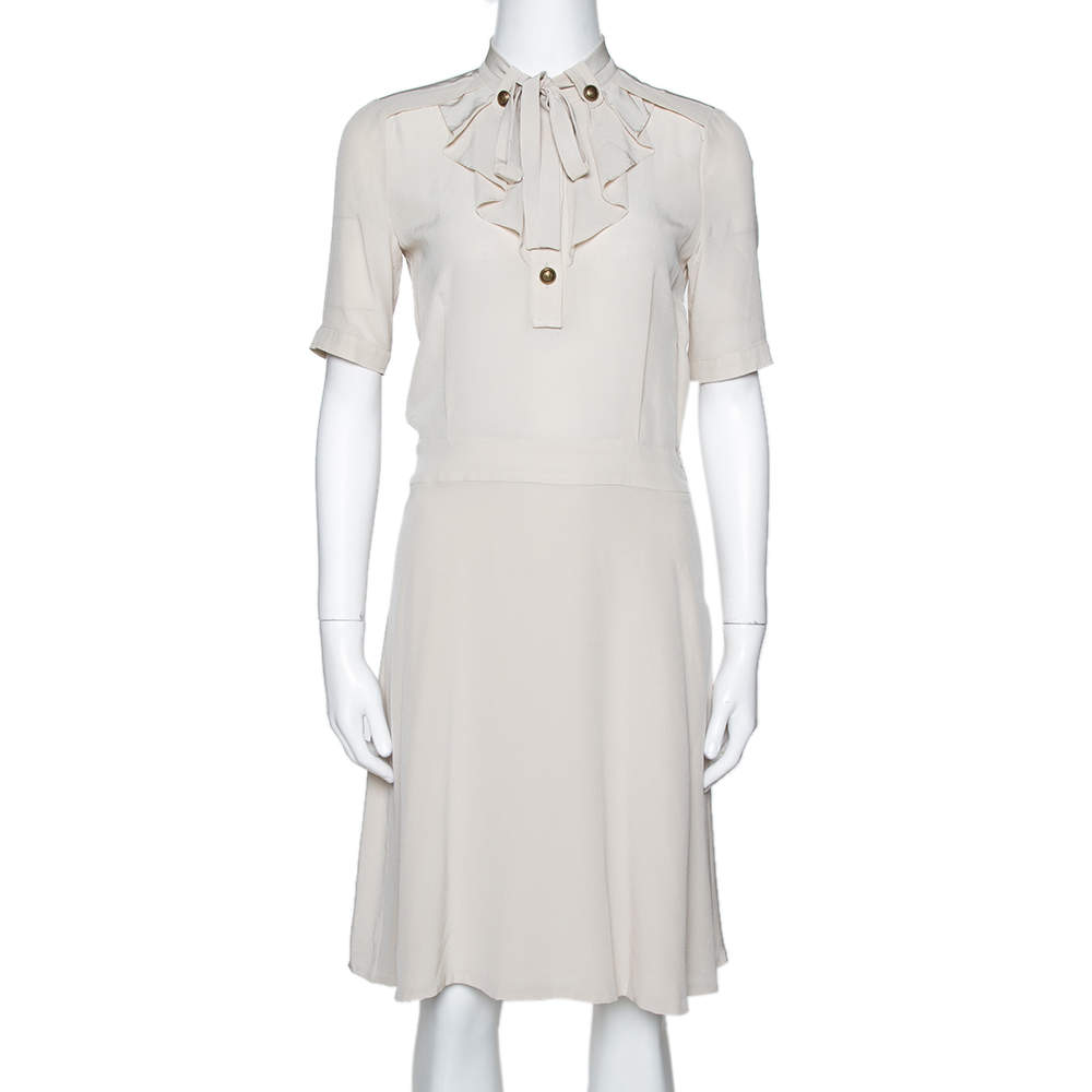 Gucci Light Beige Silk Ruffled Tie Neck Dress S