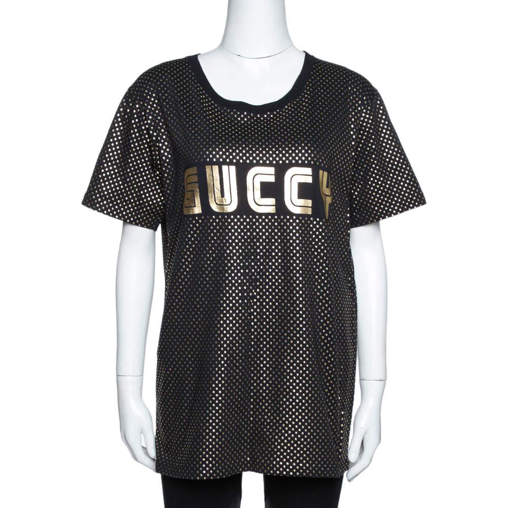 Gucci Black & Gold Star Print 'Guccy' Crew Neck T Shirt S