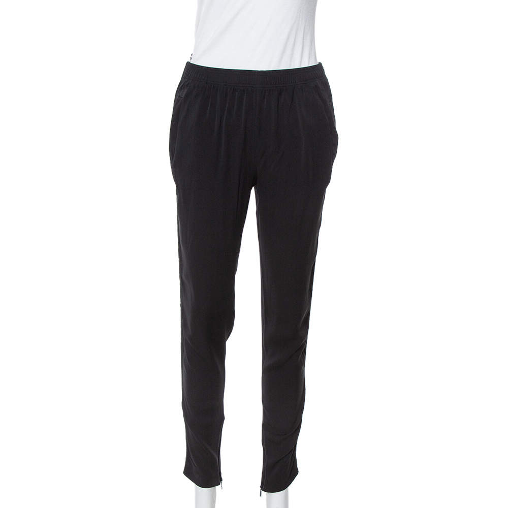 Gucci Black Silk Crepe Tapered Trousers S