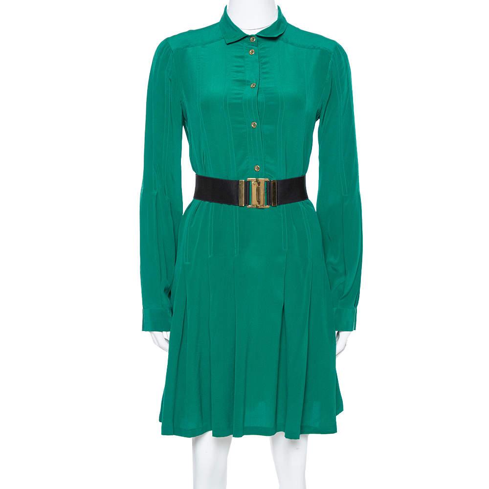 Gucci Green Silk Crepe Belted Shirt Dress M