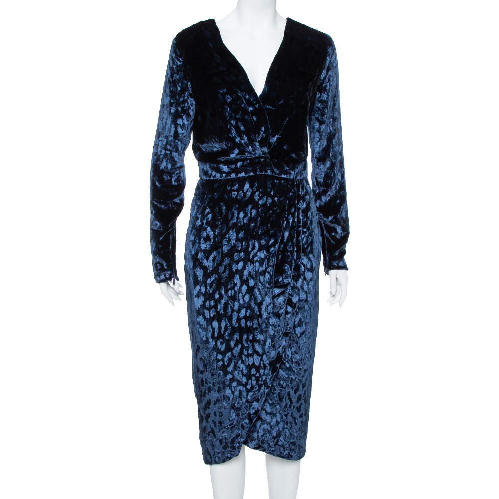 Gucci Navy Blue Velvet Leopard Pattern Faux Wrap Dress M