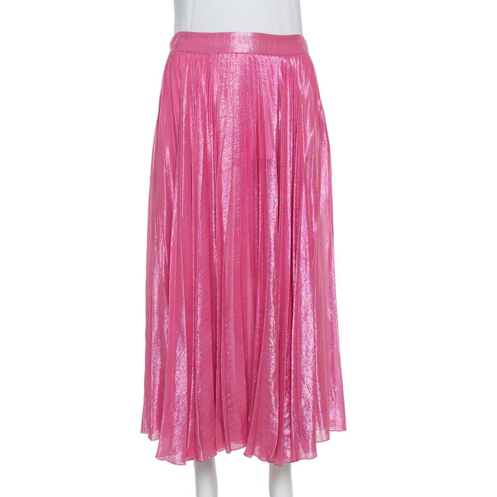 Gucci Pink Lurex Silk Pleated Midi Skirt S