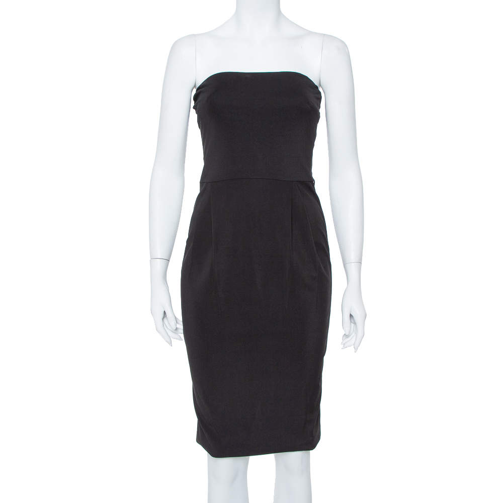 Gucci Black Jersey Strapless Sheath Dress S