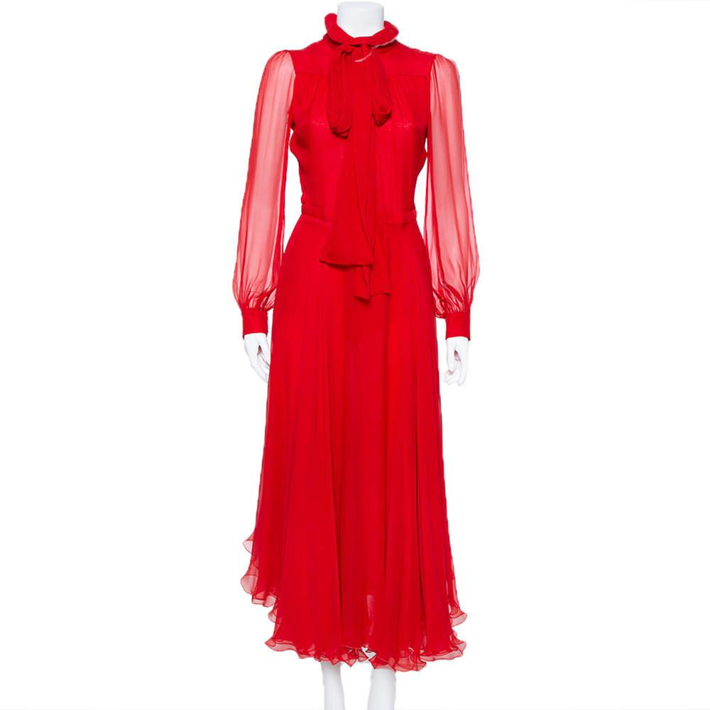 Gucci Red Silk Chiffon Collar Tie Belt Detail Flared Maxi Dress S
