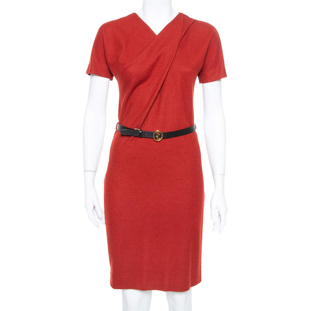 Gucci Red Fleece Wool Flared Belted Midi Dress M