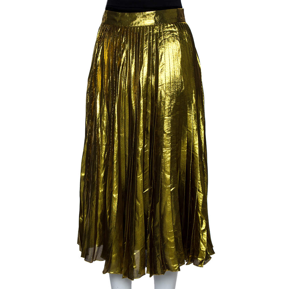 Gucci Gold Lurex Silk Pleated Midi Skirt L