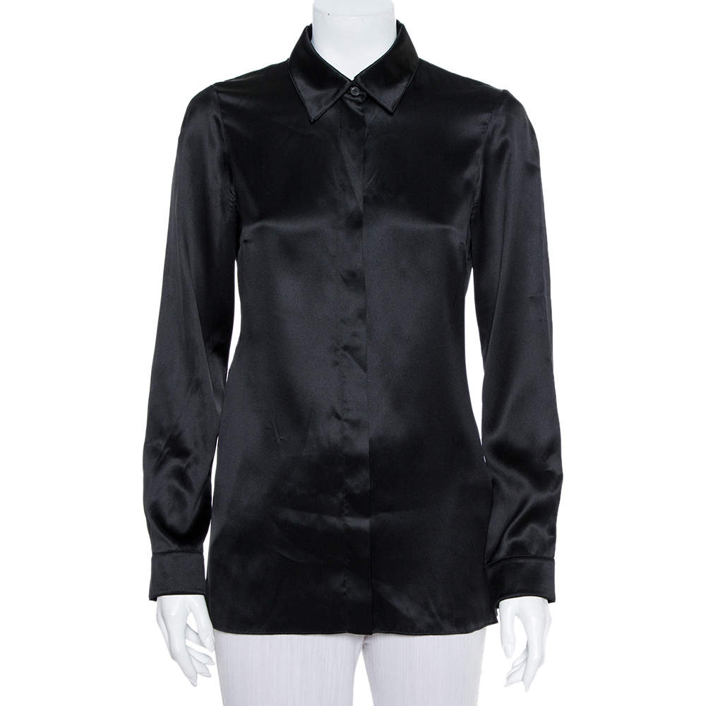 Gucci Black Silk Button Front Shirt S