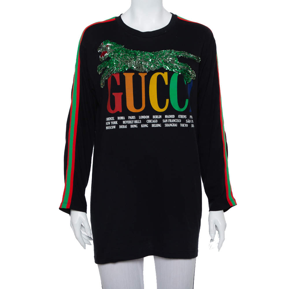Gucci Black Logo Printed Knit Sequin Embellished Tiger Detail Long Sleeve T-Shirt XS