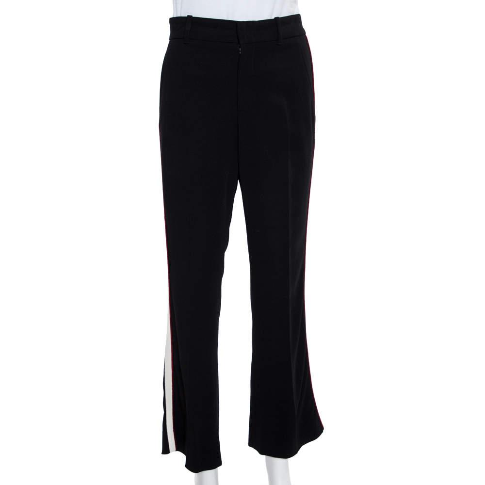Gucci Black Crepe Side Stripe Detail Bootcut Trousers S