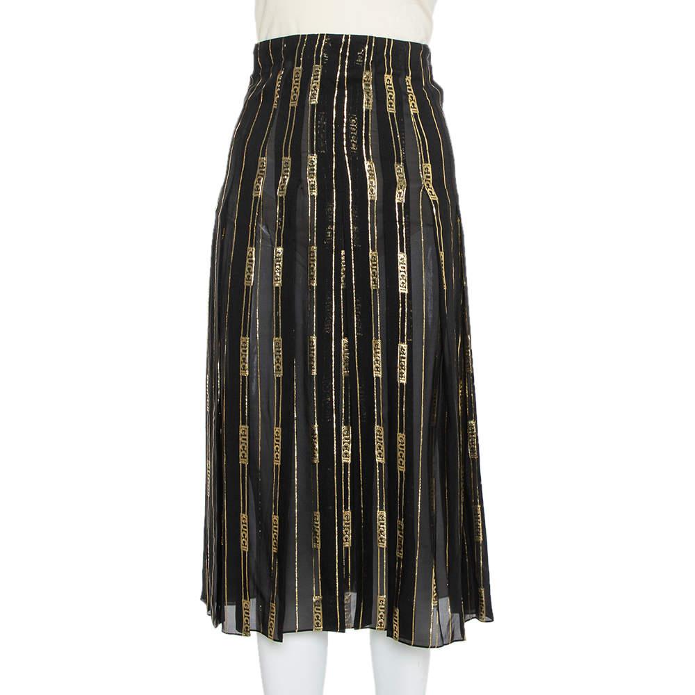Gucci X Dapper Dan Black & Gold Silk Logo Detail Pleated Midi Skirt XS