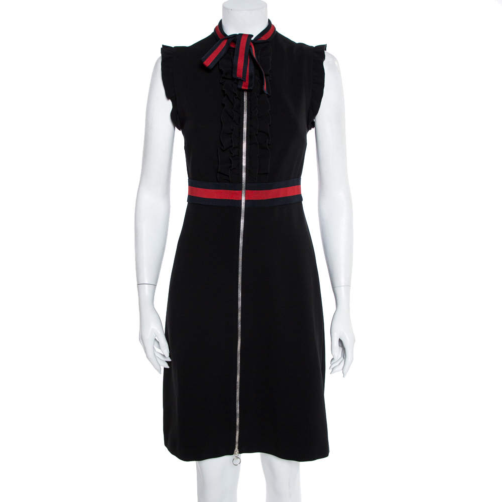 Gucci Black Jersey Trim Detail Ruffled Midi Dress M