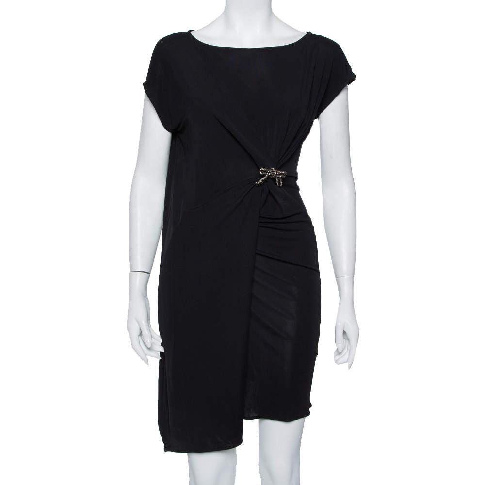 Gucci Black Knit Draped Detail Shift Dress S