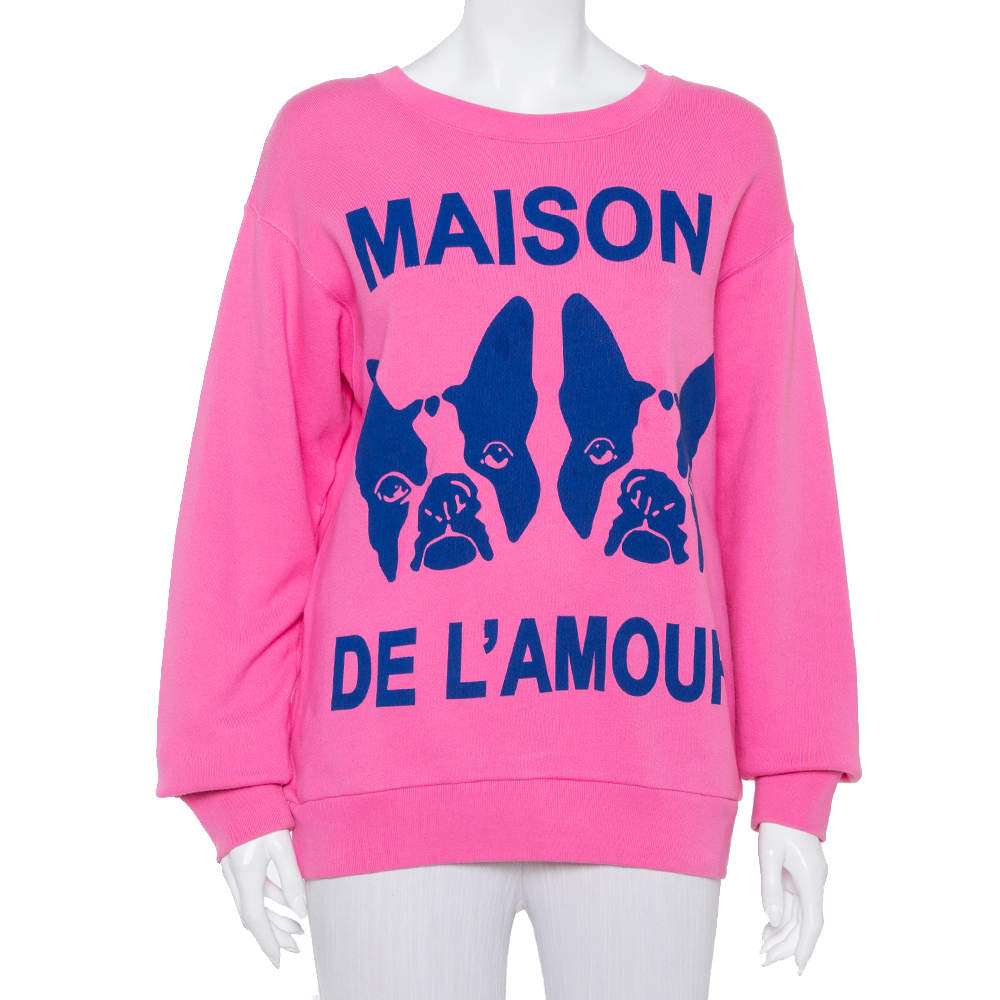 Gucci Pink Maison de l'Amour Bosco and Orso Printed Cotton Sweatshirt XS