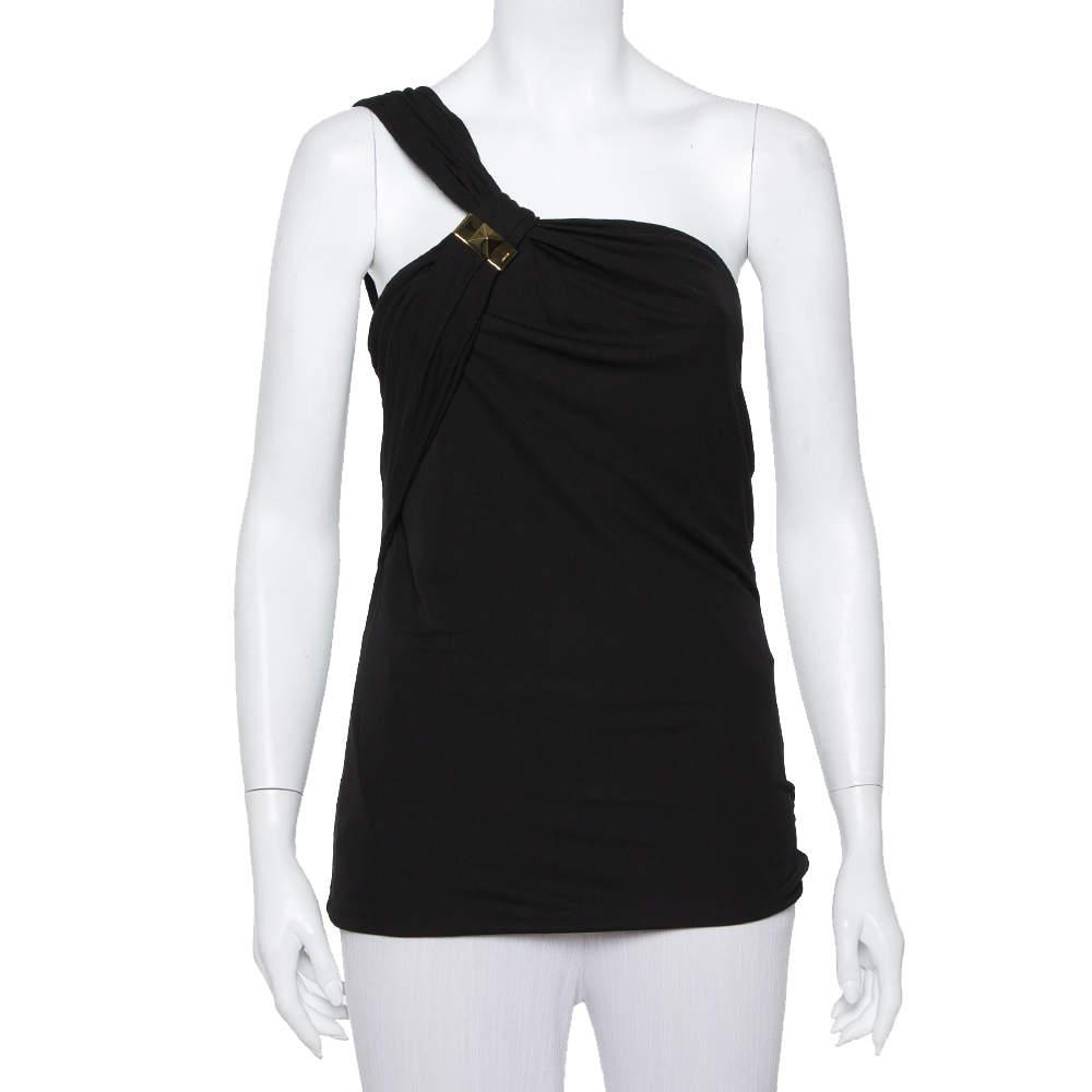 Gucci Black Knit Metal Embellished One Shoulder Top L