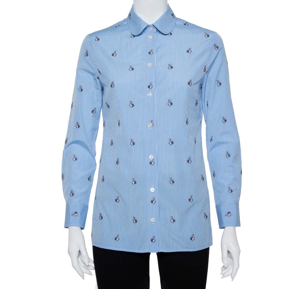 Gucci Blue Striped Cotton Rabbit Fil Coupe Detail Button Front Shirt S
