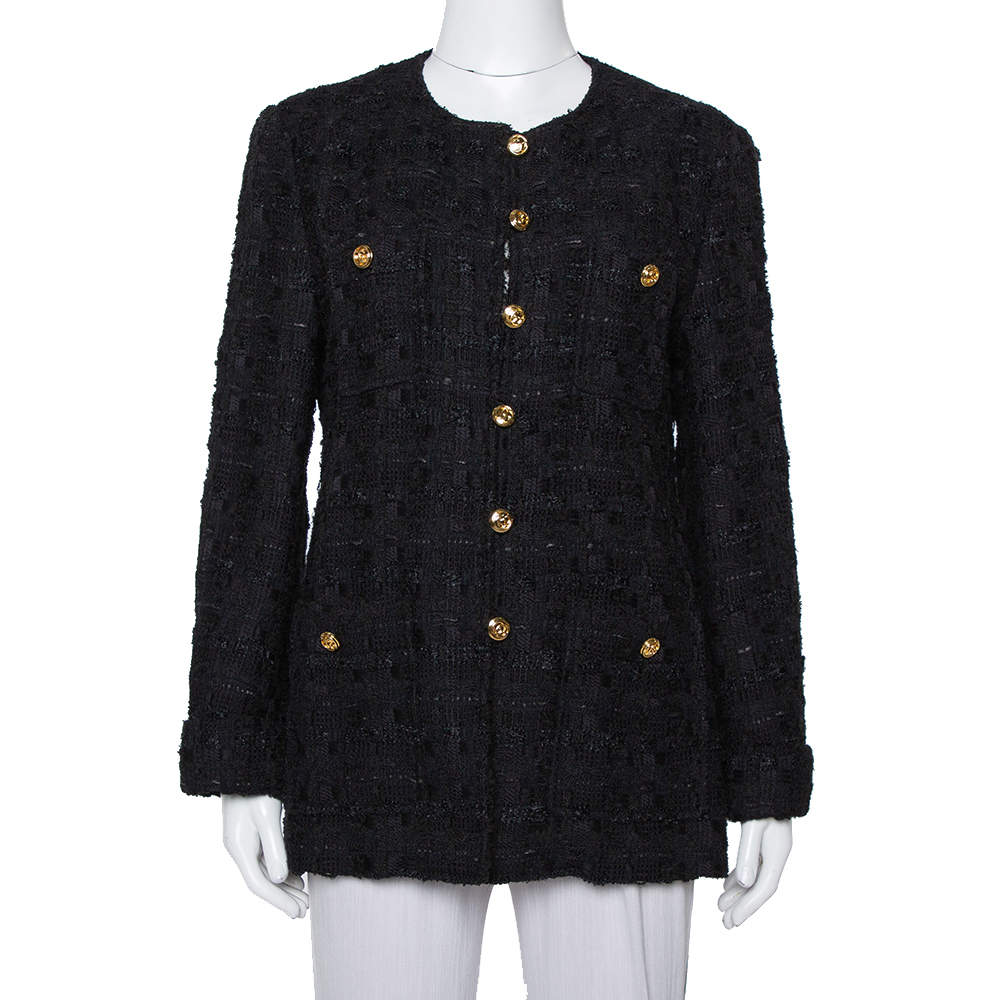 Gucci Black Tweed Button Front Jacket L