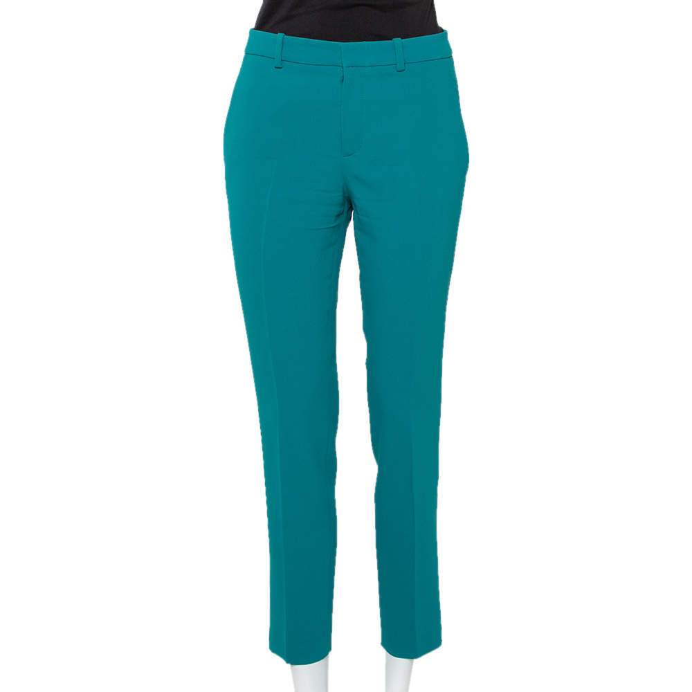 Gucci Teal Green Crepe Tapered Leg Cropped Trousers S