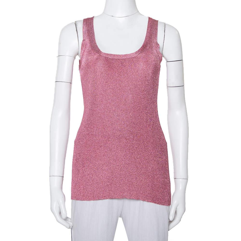 Gucci Pink Lurex Knit Tank Top XXS