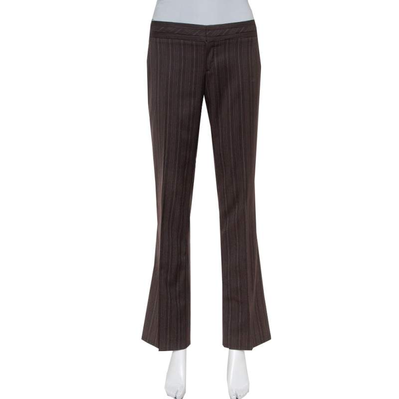 Gucci Brown Pinstriped Wool Flared Leg Trousers S