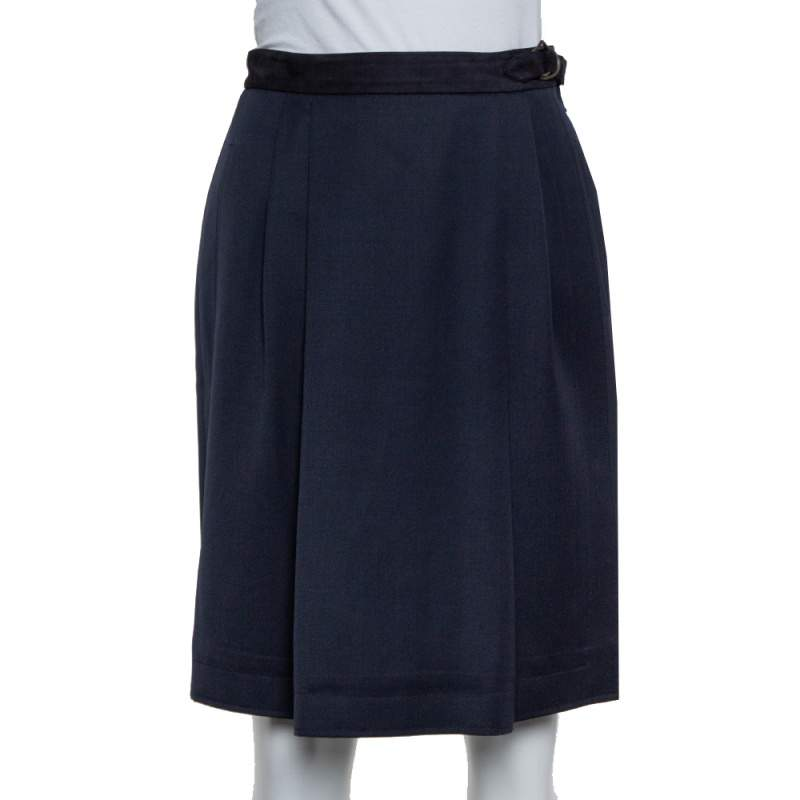 Gucci Vintage Navy Blue Wool Pleated Wrap Detail Knee Length Skirt S