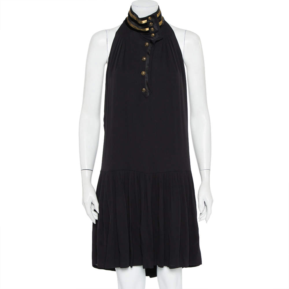 Gucci Black Silk Contrast Trim Detail Halter Neck Shift Dress M