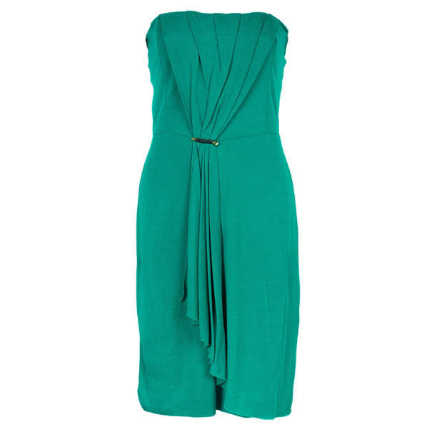 Gucci Green Strapless Gathered Cocktail Dress M