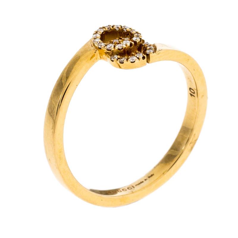 خاتم غوتشي ستاك ذهب أصفر عيار 18 ألماس رانينغ GG مقاس 50.5