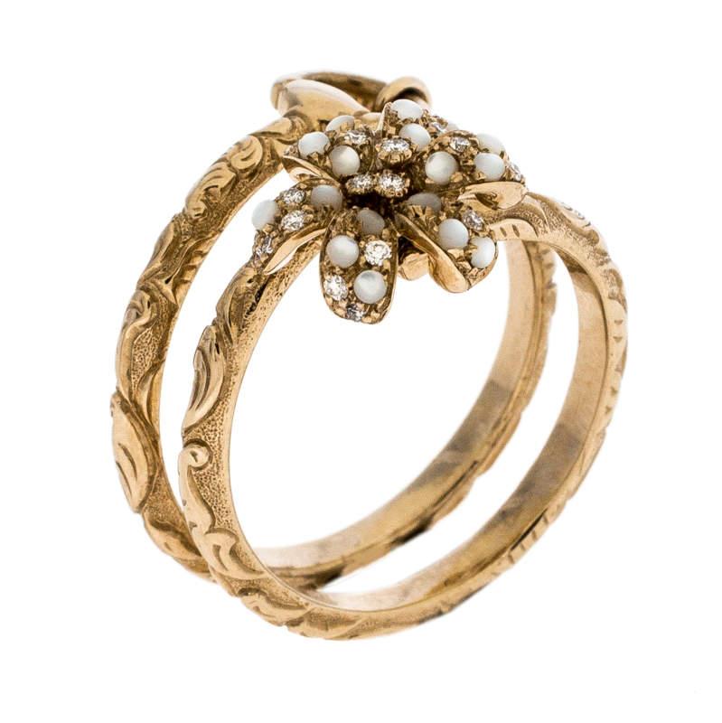 خاتم غوتشي ذهب أصفر عيار 18 وردة مرصعة دلاية ملتفة مقاس 54.5