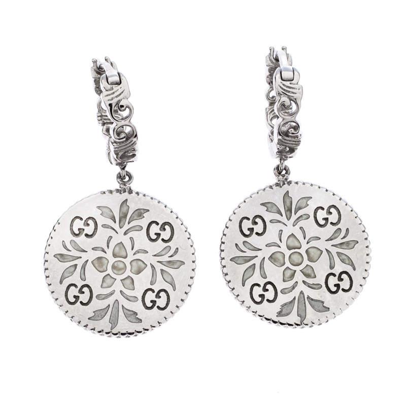 Gucci Icon Floral Motif 18K White Gold Drop Earrings