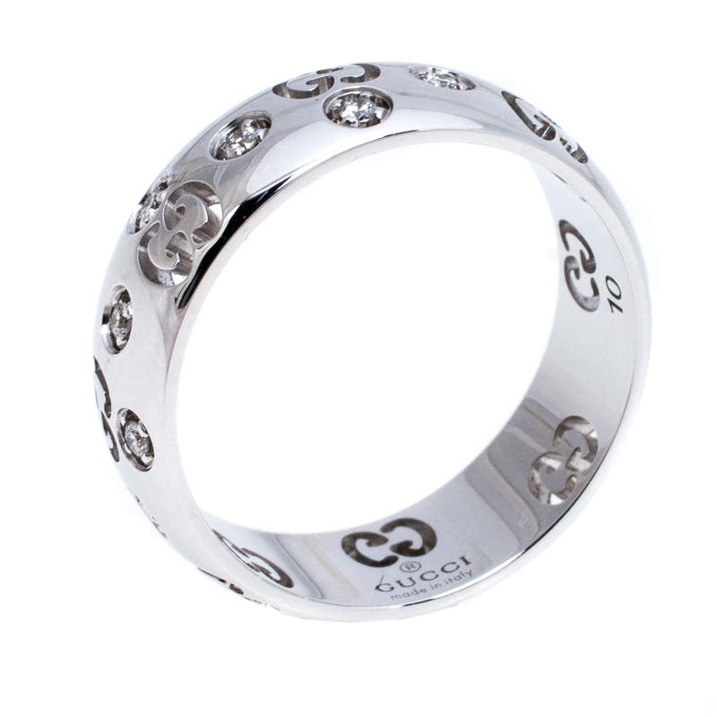 Gucci Icon Bold Diamond 18K White Gold Band Ring Size 50