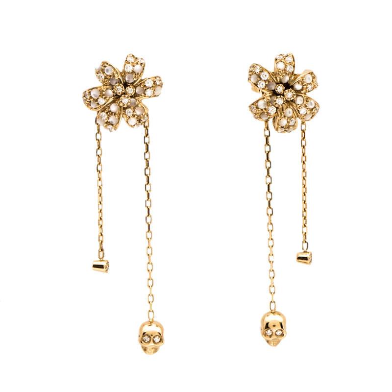 Gucci Flora Diamond Mother of Pearl 18K Yellow Gold Tassel Earrings