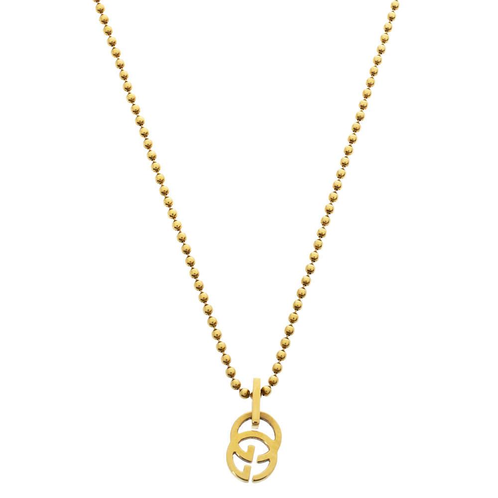 قلادة غوتشي حرفي الشعار جي جي دلاية سلسلة خرز ذهب أصفر عيار 18