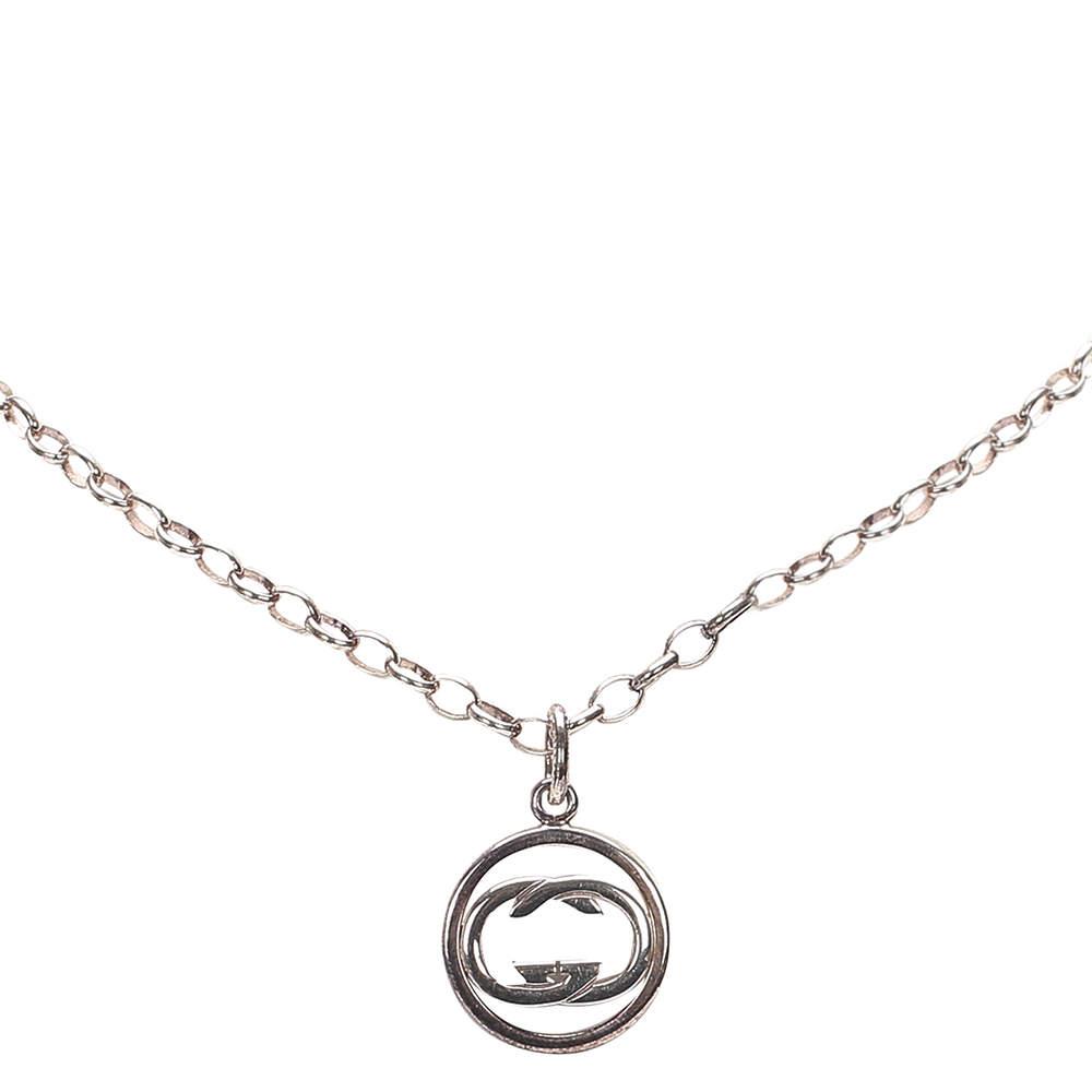 Gucci Silver Metal SV925 Interlocking G Pendant Necklace