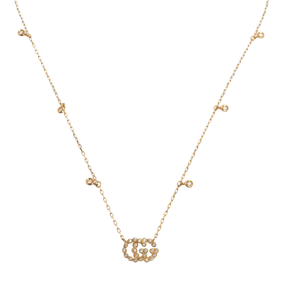 Gucci GG Running Diamond 18k Yellow Gold Station Necklace